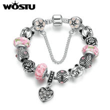 WOSTU Charm Bracelet Silver Plated Heart Pendant & Bear Flower Safety Chain Pink Murano Beads Bracelets Jewelry XCH1903(China)