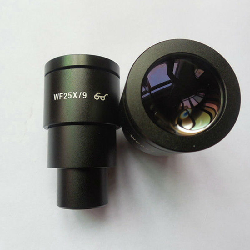 2PCS High Eye-point Wide Field WF25X/9mm for Stereo Microscope Eyepiece Optical Lens with Mounting Size 30 mm  цены