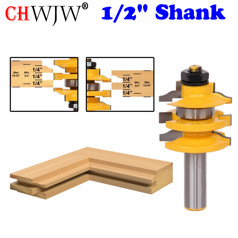 1 pcs 1/2 Shank Rail & Stile Router Bit Ogee Stacked Wood Cutting Tool woodworking router bits- Chwjw 12121 1pc 1 4 shank high quality roman ogee edging and molding router bit wood cutting tool woodworking router bits chwjw 13180q