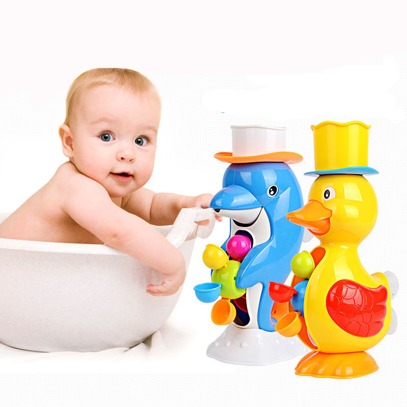 New Baby Faucet Water Bath Toys Duck Spraying Brinquedos Bathroom Dolphin Duck Squirt Toy Water Wheel Dabbling Toy Summer Toys