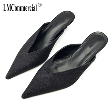 Spring Mesh Red the same fashion tip half slippers drag simple hundred comfortable with women's shoes pantuflas mujer sandals
