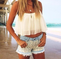 2015 Spring Summer Outfit White Flowy Crop Top Lace Shorts CHIFFON Hollow Yarn Shirt Crop TOP