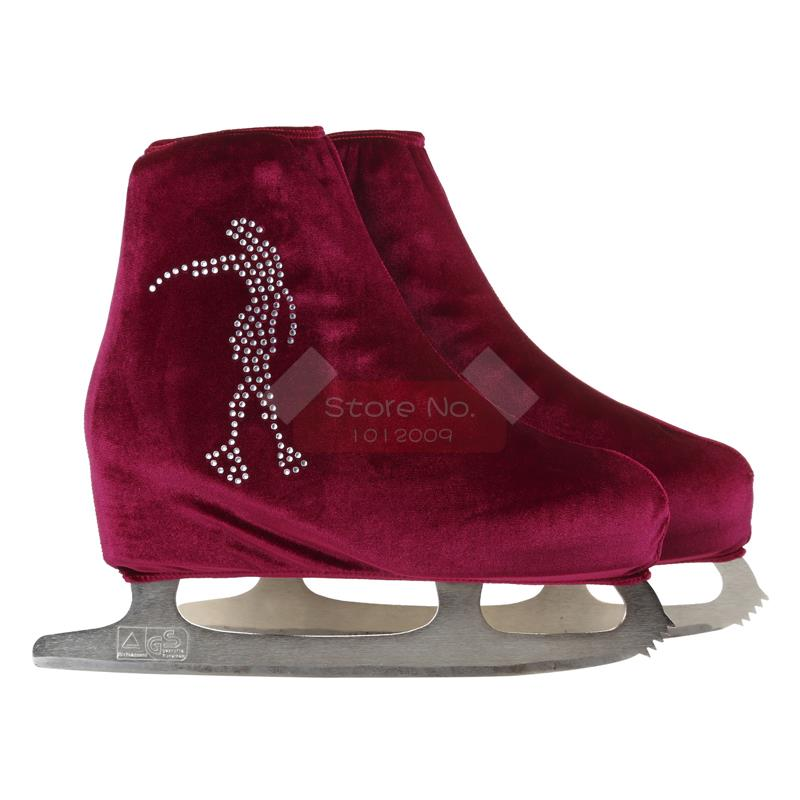 24 Colors Child Adult Velvet Ice Skating Figure Skating Shoes Cover Roller Skate Fabric Accessories White Skater 3 Rhinestone 32