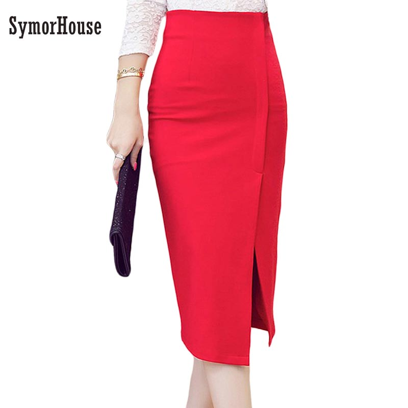 High Waist Pencil Skirt Women Plus Size Tight Bodycon Fashion Women Midi Skirt Red Black Slit Women's Office Skirt 3XL 4XL 5XL