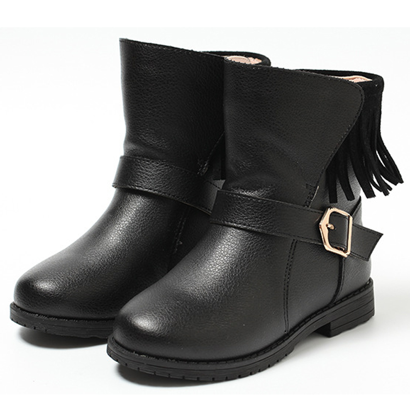 Girls boots 2018 kids autumn winter shoes high quality genuine leather cjildren boots princess shoes with fashion fringe new style 2017 girls classical boots autumn and spring fashion leather boots with bow bottom princess warm high quality shoes