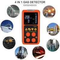 4 в 1 детектор газа O2 H2S CO Газоанализатор горючих угарного газа кислорода легковоспламеняющиеся токсичных газов Вредных Детектор Утечки Газ