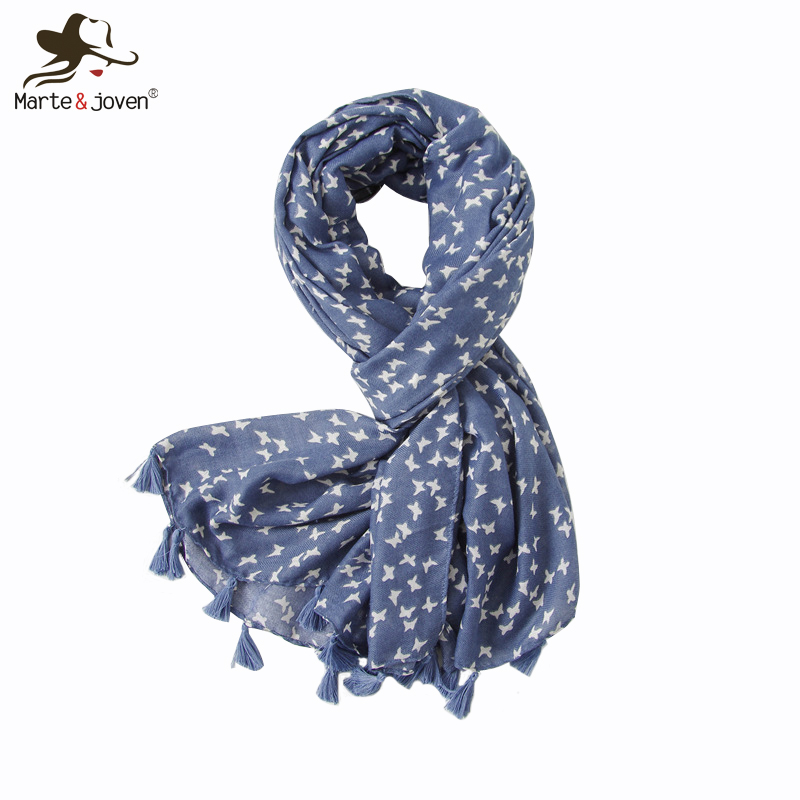 Marte&Joven Fashion Small Butterfly Printed Autumn Winter Warm Blue   Scarf     Wraps   Elegant Tassels Ladies Muslim Hijab Head   Scarves