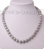FREE SHIPPING>>>@ stunning big 10mm round gray freshwater cultured pearl necklace s2050^^^@^Noble style Natural Fine jewe hot ne