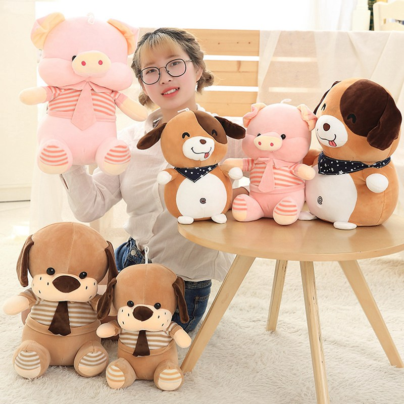 1pc 45/55cm 3 Patterns Plush stuffed toys Dog Cute Puppy Dog with a tie Cartoon pillow Home sofa cushions Kid's Birthday Present