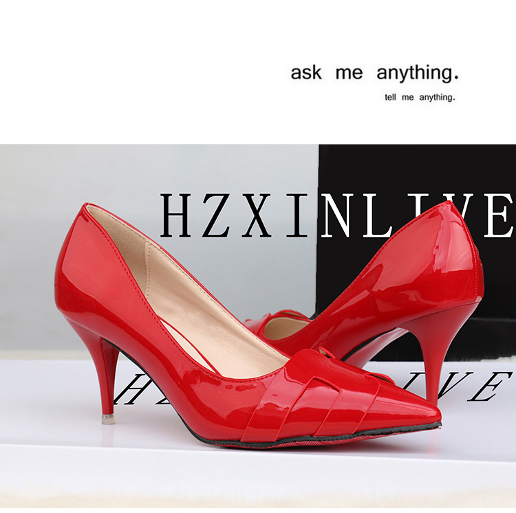 2019 new arrival Pointed Toe Office Solid Flock High Heels red color