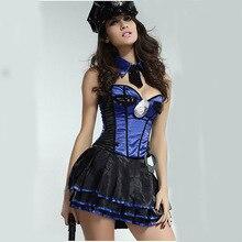 Azul Mujeres Policía Sexy Traje de Policía Vestido de Halloween de Las Mujeres Más Tamaño Trajes de Oficiales De Policía De Rol Cosplay Trajes