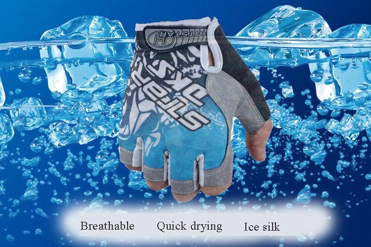 Летние ледяные шелковые наполовину перчатки для рыбалки мужские спортивные износостойкие дышащие велосипедные перчатки рыболовные принадлежности PESCA