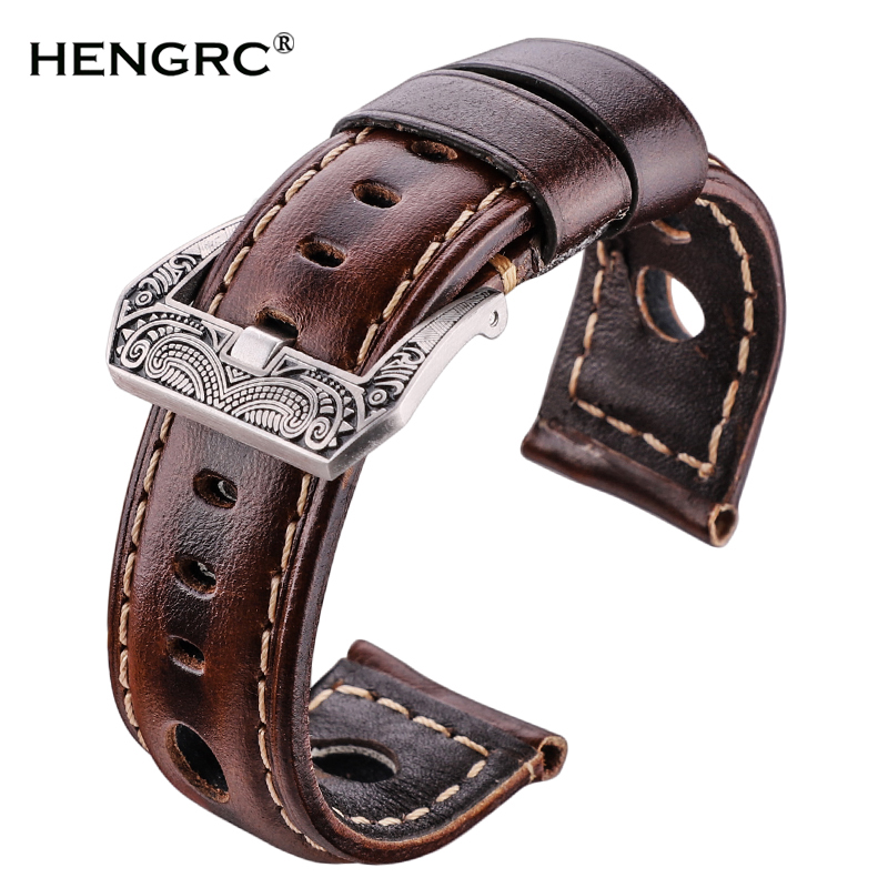 Oil Wax Genuine Leather Watchbands 22mm 24mm Dark Brown Women Men Cowhide Watch Band Strap Belt With Black Pin Buckle
