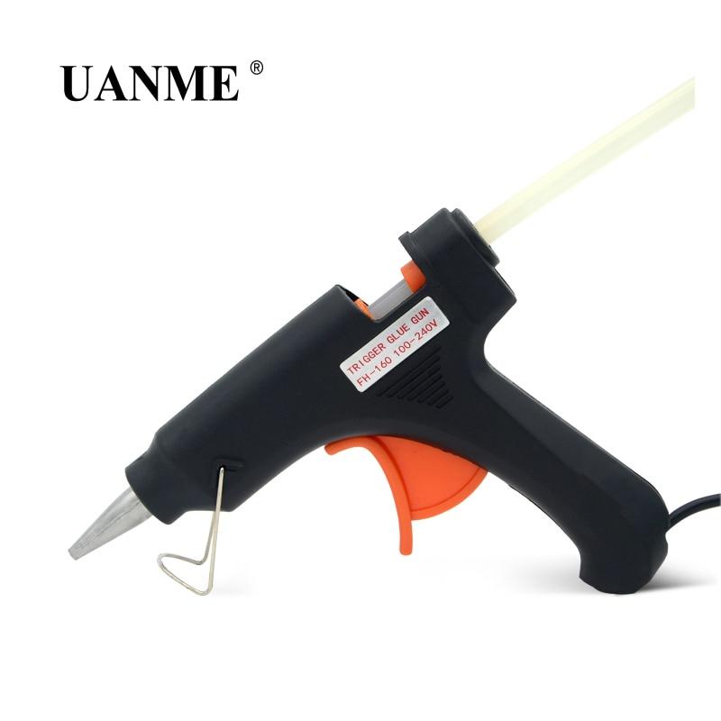 UANME 20W 100-240V High Temp Hot Melt Glue Gun Professional Repair Heat Tool Spray Gun USA Plug / 7mm*200mm Glue Stick