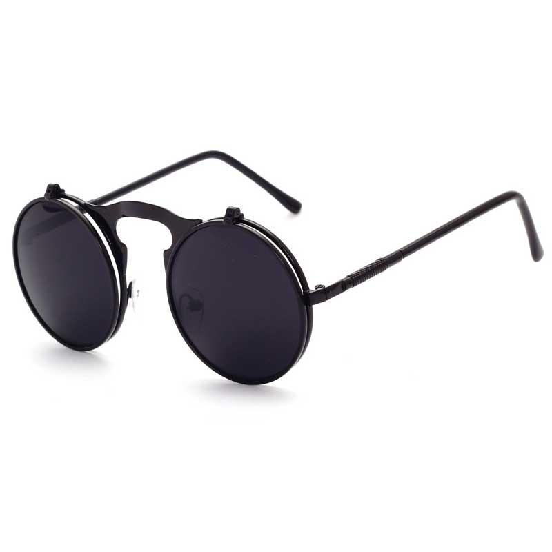 061f535ae6b Flip Up Sunglasses Steam punk Men Circle Sun glasses Vintage Round  Steampunk Glasses Women Retro Metal Coating Lens Sun glasses-in Sunglasses  from Apparel ...