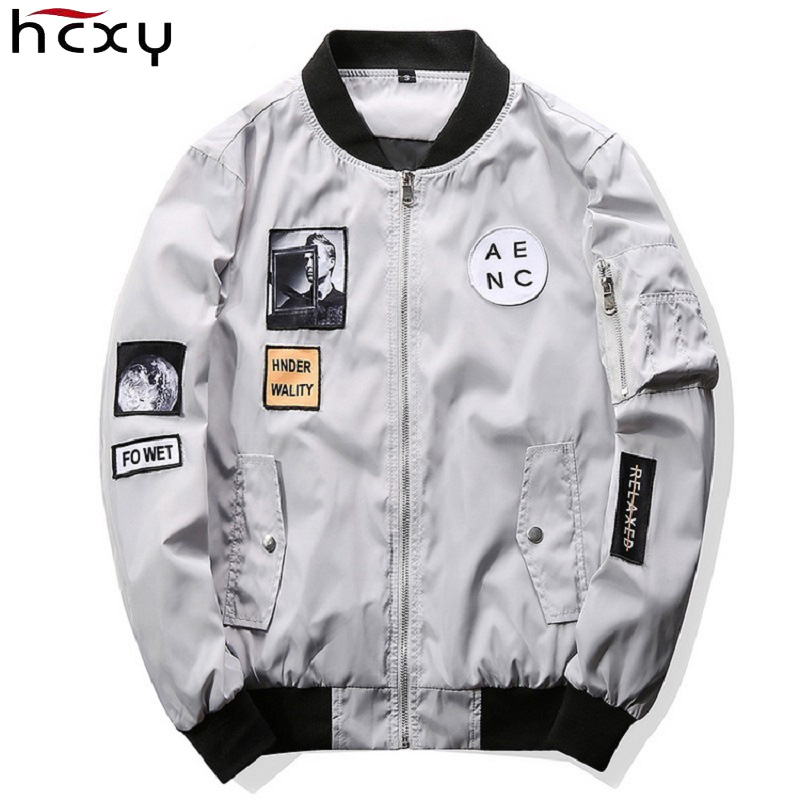 2018 Spring Men Slim Bomber Jacket Hip Hop Patch Zipper Baseball Pilot Jacket Coat Men J ...