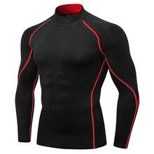 Men's high collar fitness long sleeve sports running long sleeve t-shirt autumn winter elastic quick-drying collar T-shirt shirt
