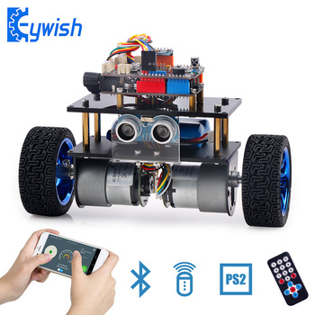 For Arduino Balance Robot Cars APP RC Remote Control Ultrasonic Robotics Learning Kit Educational Stem Toys for Children Kids smael 1708b
