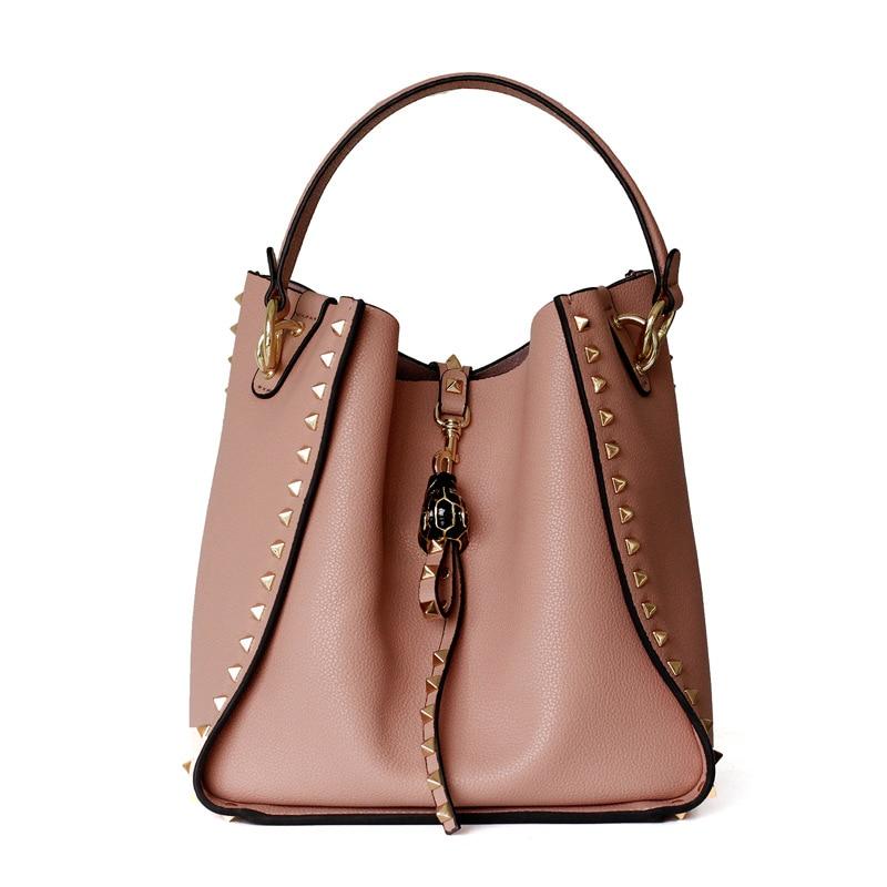 704b3a091ff0e Detail Feedback Questions about 2018 Winter Autumn Famous Brand Designer  Women s Bucket Bag Genuine Leather Ladies Handbag Rivet Female Shoulder Bag  Vintage ...