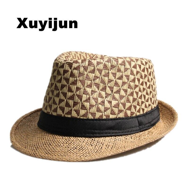 5d1475da96f7f Hombre y mujeres de Paja de moda de Verano Sombreros de Sun Fedora del  sombrero flexible del Gángster Cap Beach Summer Sun Paja Sombrero Panamá  con Ribbow ...