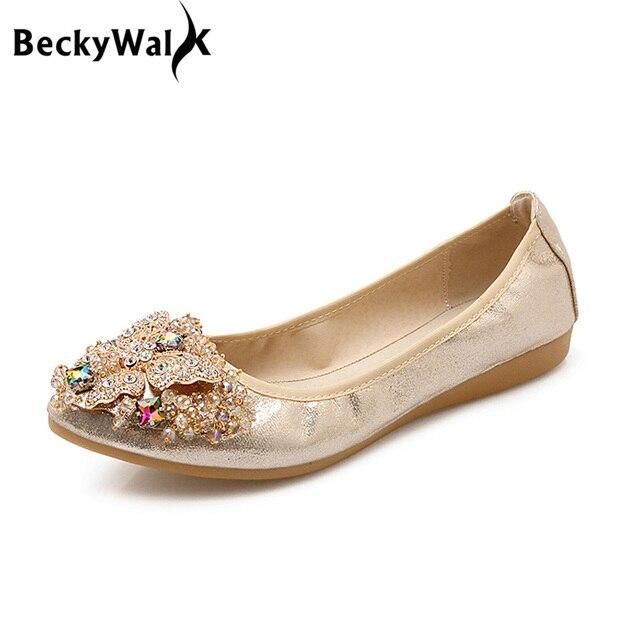 US $14.29 55% OFF|Weiche Sohle Faltbare Frauen Ballett Wohnungen Luxus Strass Damen Schuhe große Größe 43 44 45 Loafers Frühling Herbst Schuhe Frau