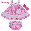 Conjuntos de Roupas de Recém-nascidos do bebê Da Menina do Algodão Da Listra Sling Top Swing e Irritar Bloomer Para Bebês 1 Aniversário 0-2 anos Menina roupas