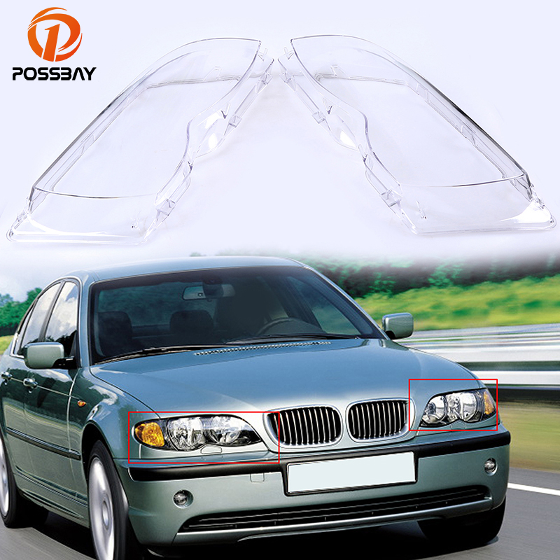 POSSBAY Car Headlight Lenses Headlight Cover Clear Lens for BMW 3-Series E46 Sedan 2001 2002 2003 2004 2005 Headlamp Shell headlight clear lens cover 2 pcs front headlamp plastic shell for bmw e46 2 door 1999 2002 left