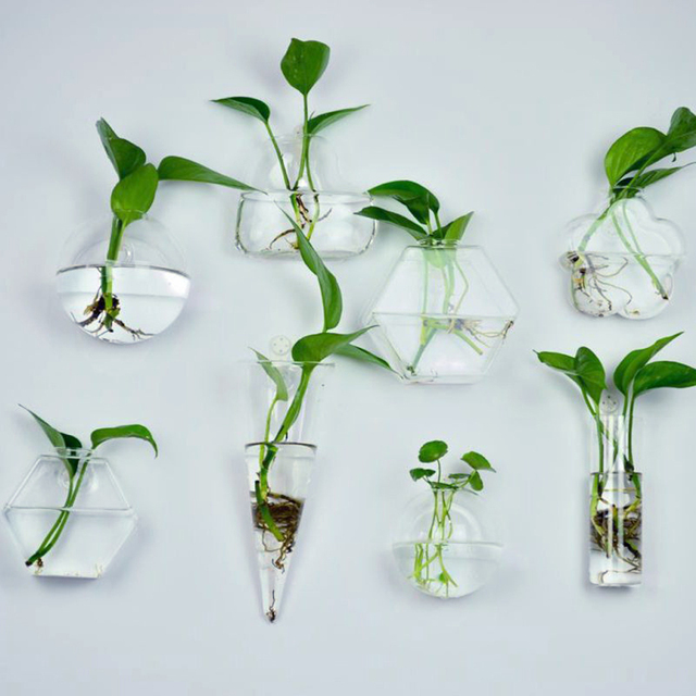 6 Shapes Clear Hanging Glass Vase Flower Plants Terrarium Vase Container Micro Landscape DIY Wedding Home Decoration Ornament