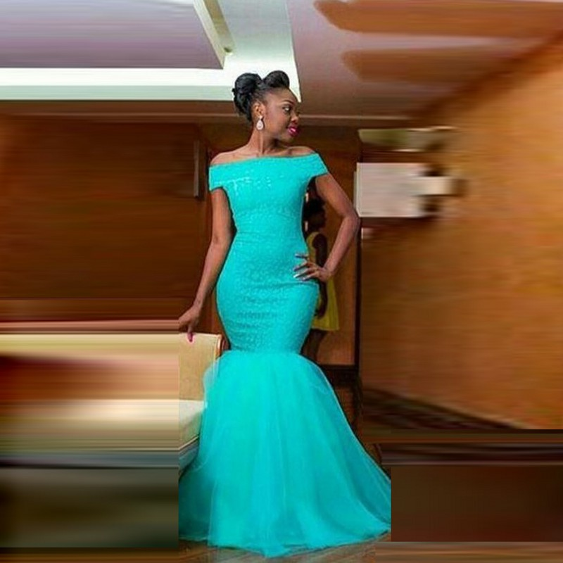 robe de soiree abendkleider Long   Evening   Gowns Mermaid Off Shoulder abiye Tulle Turquoise   Evening     Dress   Beads Custom Made