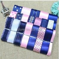 23 YARDS Diy Hair Bows Accessory Blue Series Polyester Rib Ribbon Grosgrain Satin Printed Adult Ribbon