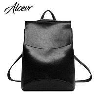 ALCEVR Brand High Quality Women Pu Leather Backpacks Vintage Backpack For Teenage Girls Casual Bags Simple