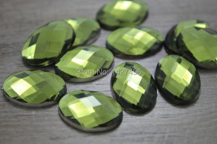 Strass acryliques ovales vert Olive 200pcs13*18mm   Strass supérieure de Taiwan, à dos plat, non correcteurs à chaud