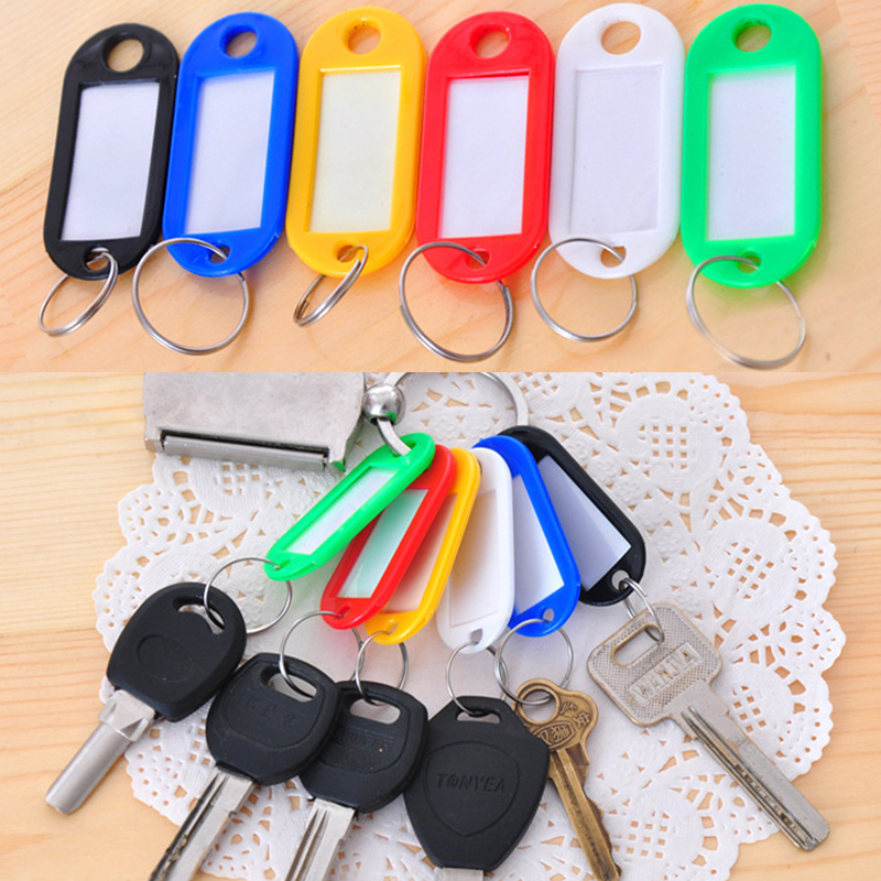 New 50Pcs/lot Colorful Travel Plastic Name Key Tags Luggage Label ID Card With Keyring Outdoor Travel Kit Accessory