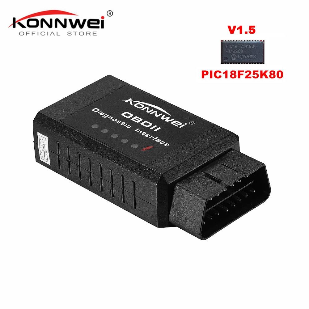 Originele V1.5 elm327 Bluetooth Adapter Pic18f25k80 EML327 OBD2 1.5 voor Android PC werkt met FORSCAN ELM 327 OBD2 1.5 in russische