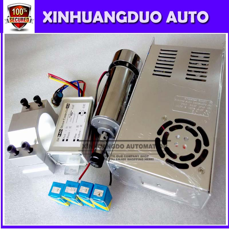 cnc spindle 300W air cooled milling Motor & high speed spindle power converter &52mm clamp &5pcs er11 collet for DIY engravingcnc spindle 300W air cooled milling Motor & high speed spindle power converter &52mm clamp &5pcs er11 collet for DIY engraving