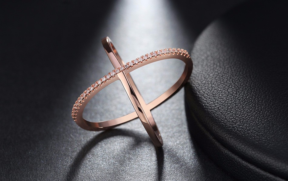 Effie Queen New Big Cross Zircon Ring Fashion Female Jewelry Infinity Sign Women Rose Gold Rings for Party free Shipping DR66 10