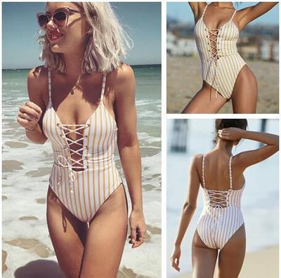 Summer Swimwear Women Sling Backless  Slim Swimsuit Multi-choice Solid Bathing Suits Bikini Padded Beachwear