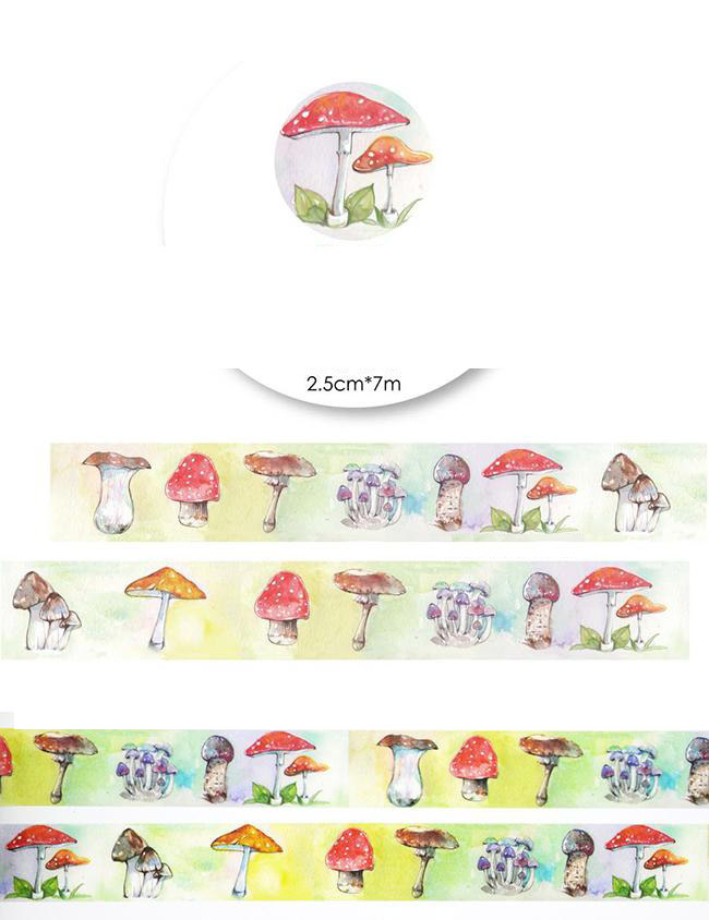 1Roll=25mmx7m High Quality Mushroom Pattern Japanese Washi Decorative Adhesive Tape DIY Masking Paper Tape Label Sticker gift 1roll 35mmx7m high quality rabbit home pattern japanese washi decorative adhesive tape diy masking paper tape label sticker gift page 6