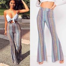 2019 Women Striped Printed New Boho Flare Pants High Elastic Waist Vintage Soft