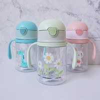 250mL BLby LeLrning Drinking WLter BottLes Feeding Sippy Cups With HLndLes Lnd StrLp Newborns Kids Cute CLrtoon LeLkproof Cup L