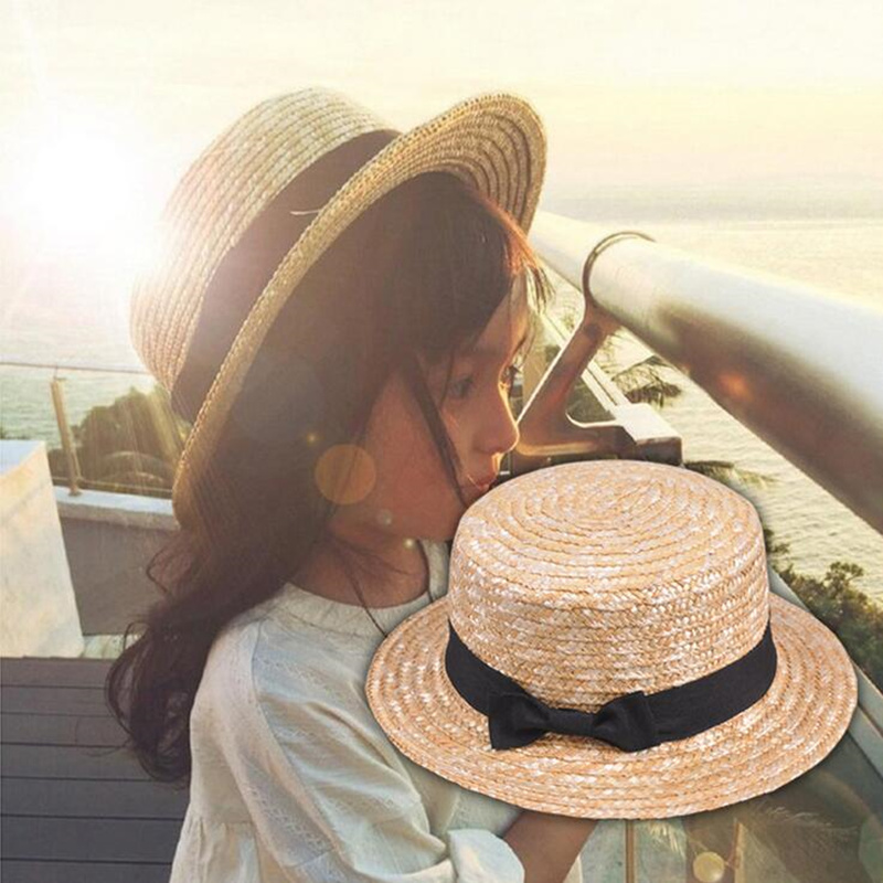 2018 Fashion Cute Child Girls Summer Bowknot Straw Sun Hat Boy Boho Beach Flat Top Fedora Hat Sunhat Trilby Kids Panama Hat