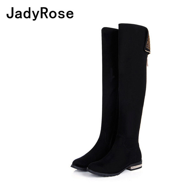 cc8566ed1bb US $105.0 30% OFF|Jadyrose women black winter boots knee high low heels  boots women crystal motorcycle boot shoes woman fashion bota feminina-in ...