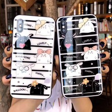 For iPhone X XS Max XR Phone Case Tempered Glass Cover for 6 7 8 Plus Adorable Pet Hamster Girls Protective Shell