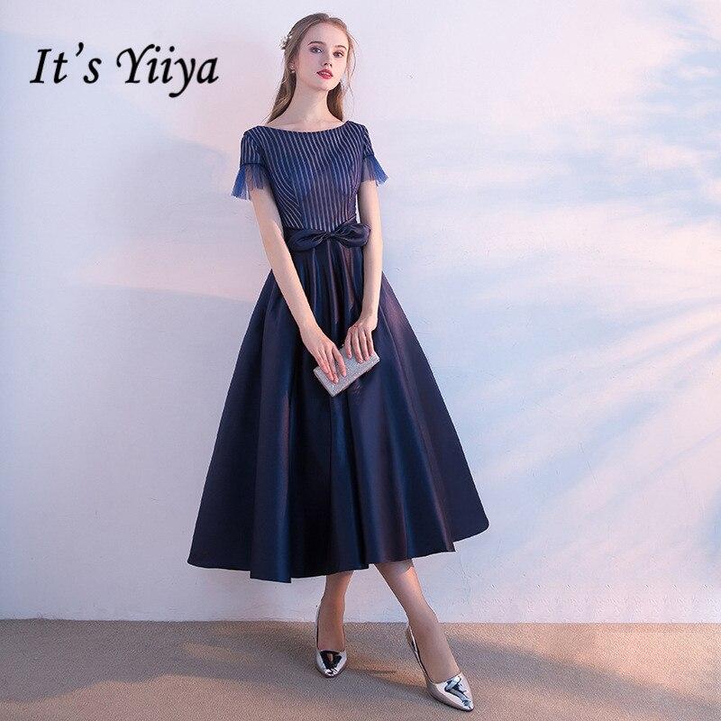 It's Yiiya O- Neck Short Neck Elegant Evening Dresses Fashion Designer Bow High Quality Party Formal Dress LX368