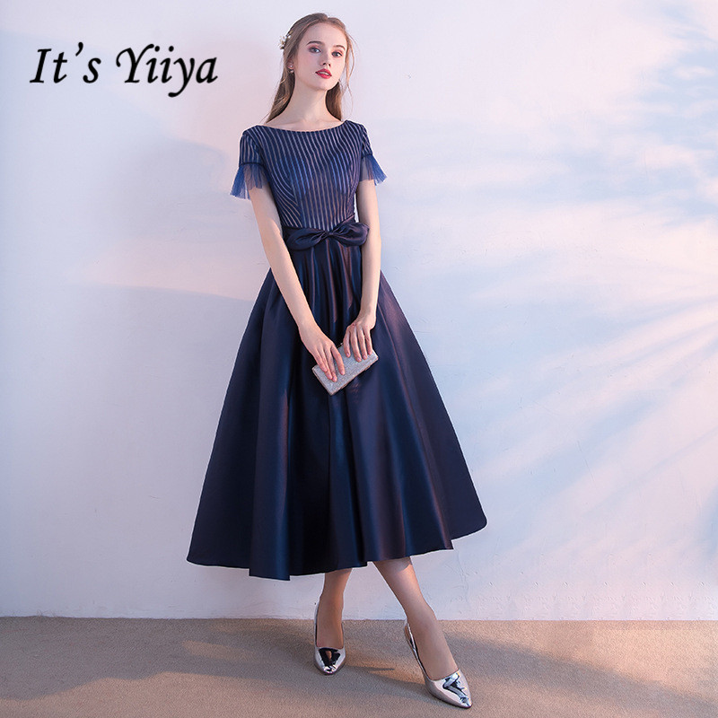 It's Yiiya O- Neck Short Neck Elegant   Evening     Dresses   Fashion Designer Bow High Quality Party Formal   Dress   LX368