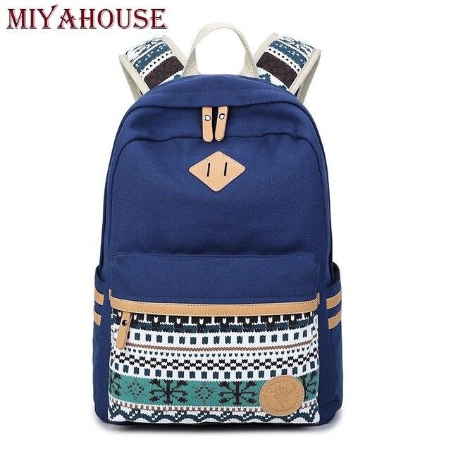 Miyahouse Ethnic Women Backpacks For Teenage Girls Vintage Stylish School Bag Lady Canvas Backpack Female Back Pack High Quality