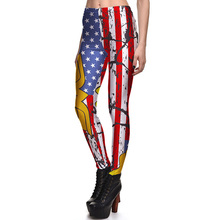 New 3888 Sexy Girl Slim Ninth Pants Retro USA Flag Wonder Women in Battle Printed Stretch Fitness Women Leggings Plus Size