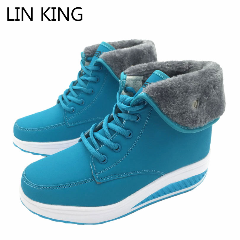 LIN KING Design Women Winter Boots High-top Lace Up Warm Swing Shoes Platform Wedge Elevator Shoes Outdoor Anti Skid Snow Shoes