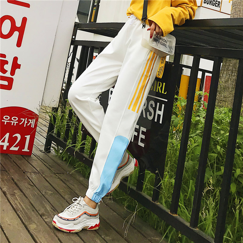 Cargo Pants Women Patchwork Long Pants High Waist Side Striped Black Trousers Student Elastic Waist Harajuku Plus Size Bottoms 41