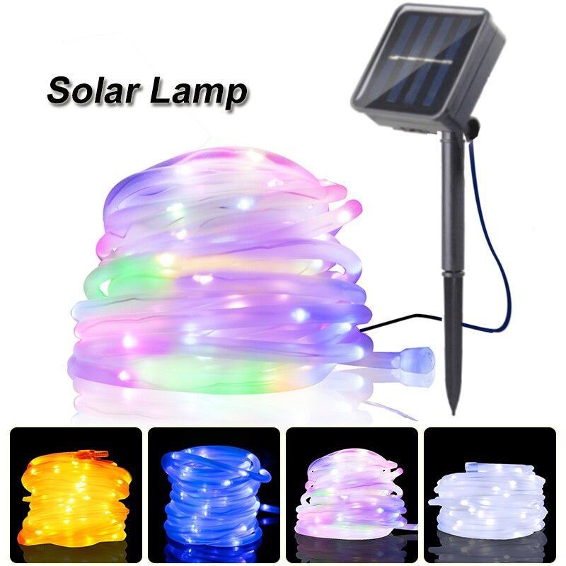 Tubo de corda led solar lâmpada 50/100 leds luzes da corda ao ar livre fada festa de natal feriado solar luz do jardim à prova dwaterproof água solar